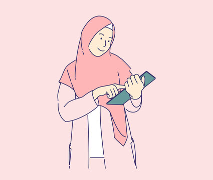 hijab girl using tablet vector illustration concept, business woman using tablet and fill online form hand drawn style, can use for, landing page, template, ui, web, homepage, poster, banner, flyer