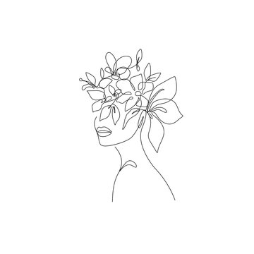 Woman Head with Flowers Line Vector Drawing. Style Template with Female Face with Flowers. Modern Minimalist Simple Linear Style. Beauty Fashion Design