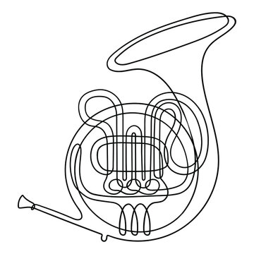 One line drawing. Musical wind instrument French horn.