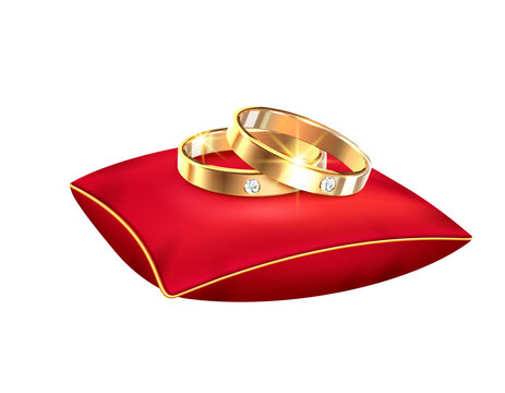 Wedding rings realistic big set with isolated images of alliance rings red ribbons boxes and pillows vector illustration
