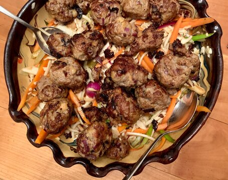 Asian meatballs with coleslaw