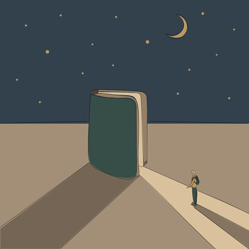 Concept: book is source of knowledge.Half-open book from which ray of light fall in which tiny man stand ready to immerse himself in reading.On background of a starry sky with month.Hand drawn raster