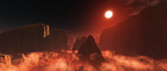 Alien surface of the planet at sunrise, Martian sunset, Mars at sunset, Sunrise on Mars, 3D rendering