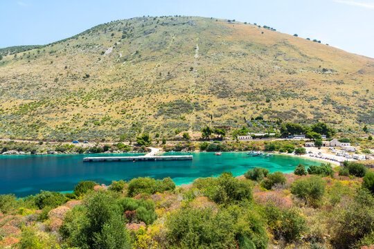 amazing turquoise bay in Porto Palermo in south Albania