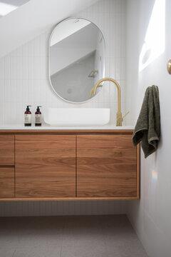 Modern white tiled bathroom
