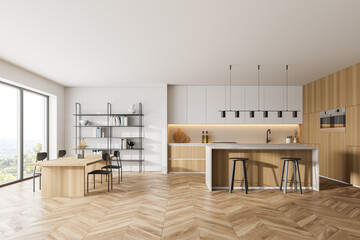 Wooden kitchen room with dining table and chairs, parquet floor