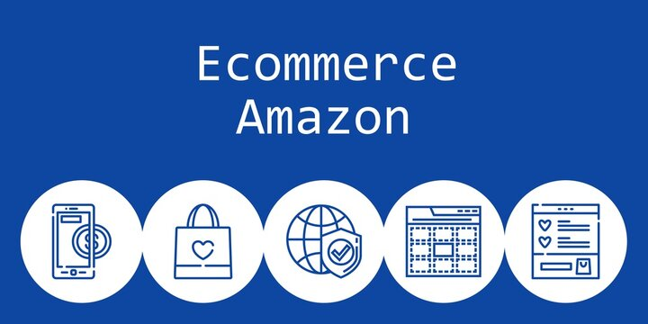ecommerce amazon background concept with ecommerce amazon icons. Icons related shopping bag, web, wishlist, internet, online payment