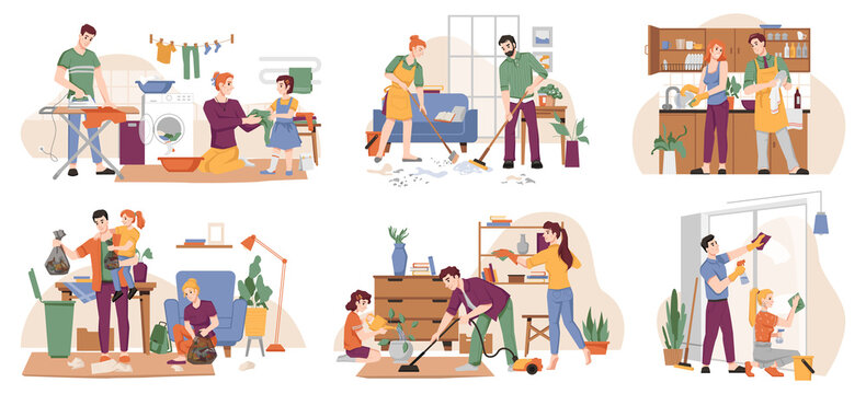 People clean home, family tidy up flat, cartoon characters. Vector set of people doing laundry, ironing cloth, sweeping and cleaning floor, washing wiping dishes and windows. Man with vacuum cleaner