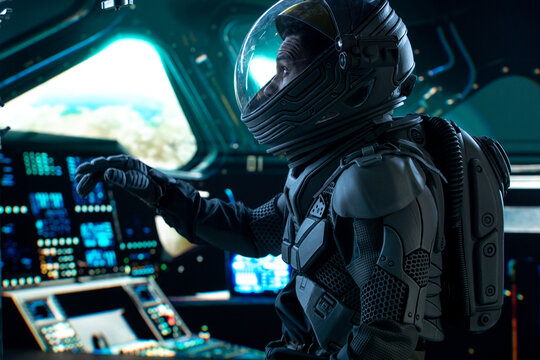 Portrait of African American Black male astronaut inside spaceship cockpit. Sci-fi space exploration concept. Mars mission