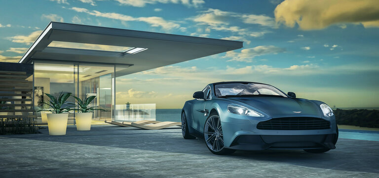 Aston Martin Vanquish 2013 vor einer modernen Villa