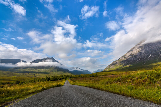On the road - Road to Glen Etive in the Scotish Highlands, Scotland, United Kingdom