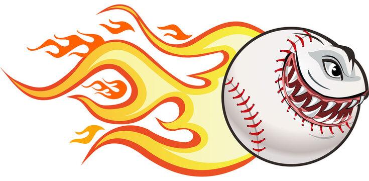 Angry flaming screaming baseball