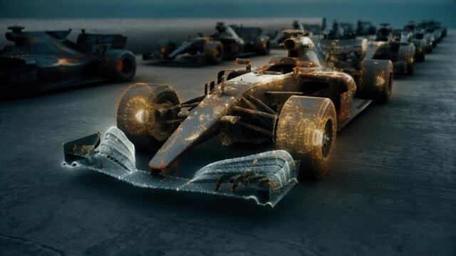 3d rendered illustration of Formula 1 Racing Bolids. High quality 3d illustration