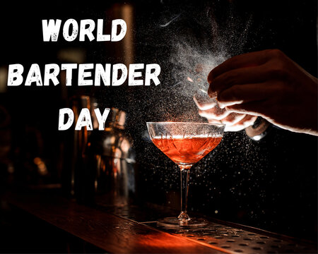 World Bartender Day,24 February, A glass of wine on the bar table