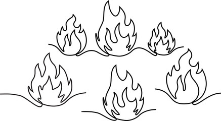 Abstract fire in one continuous line style. Minimalist style. Continuous line fire one line drawing isolated vector fire illustration.