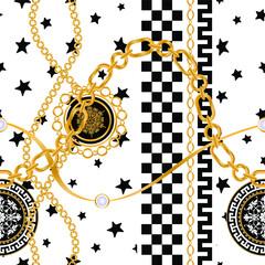 Modèle sans couture décoré de pierres précieuses, de chaînes en or et de perles.