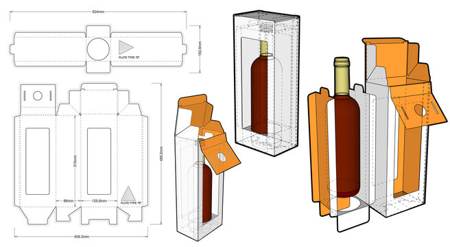 Packaging for one bottle of wine and Die-cut Pattern. The .eps file is full scale and fully functional. Prepared for real cardboard production.