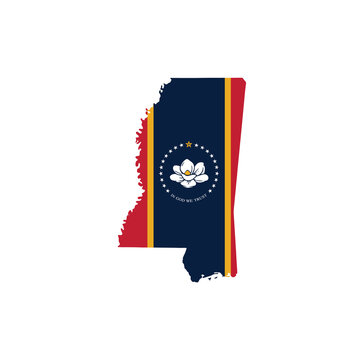 Map of Mississippi with flag. vector illustration