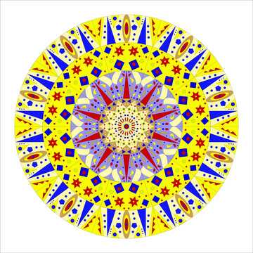 Mandala with oriental motif in yellow and blue tones