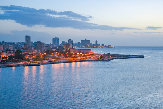Cityscape of the piers of Havana (Cuba)