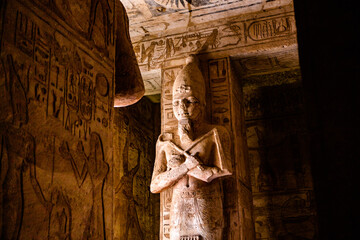 Abu Simbel temple in Egypt. Colossus of The Great Temple of Ramesses II. Africa. - fototapety na wymiar