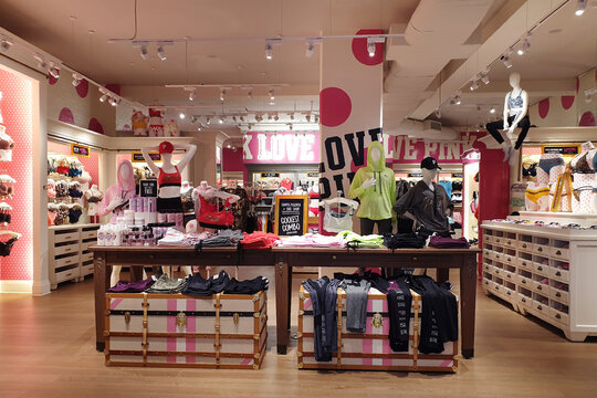 Interior view of Victoria's Secret pink store in Icon Siam Mall. Victoria's Secret is the largest American retailer of women's lingerie. BANGKOK, THAILAND - APR 5, 2019
