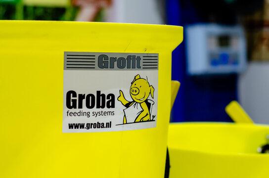 Kyiv, Ukraine - February 16, 2021: Groba Feeding Systems logo