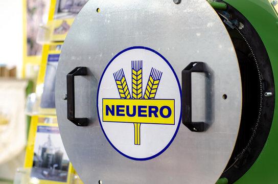 Kyiv, Ukraine - February 16, 2021: Company NEUERO logo on equipment.