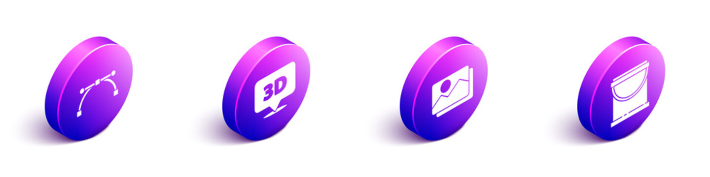 Set Isometric Bezier curve, Speech bubble with text 3D, Picture landscape and Paint bucket icon. Vector.