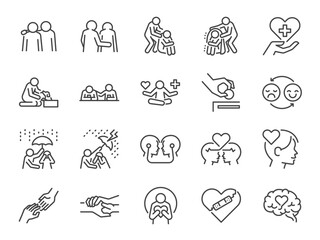 Obraz Empathy line icon set. Included the icons as cheer up, friend, support, emotion, mental health, and more. - fototapety do salonu