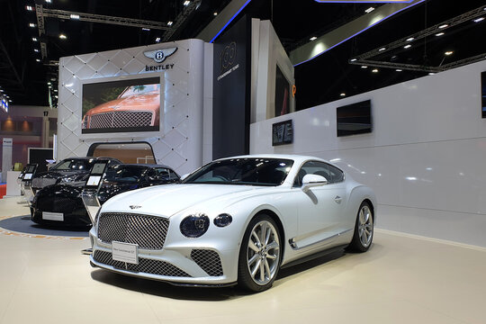 Bentley car exhibition at Bangkok International Motor Show. Bentley is a British manufacturer and marketer of luxury cars and SUV, subsidiary of the Volkswagen Group. BANGKOK, THAILAND - 6 APR 2019.