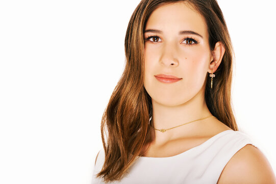 Close up portrait of young pretty woman on white background, brown hair, perfect skin, soft makeup