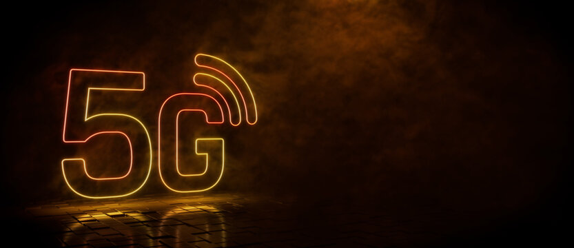 Orange and yellow neon light 5G icon. Vibrant colored technology symbol, isolated on a black background. 3D Render