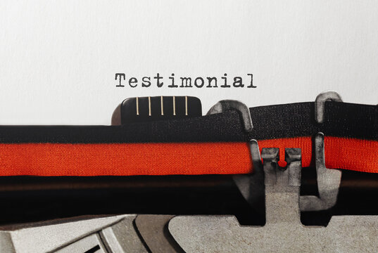 Text Testimonial typed on retro typewriter