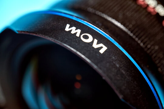 Laowa lettering and logo of the brand of the manufacturer Venus Optics from China on the front ring of a wide-angle lens in Gifhorn, Germany, February 20, 2021