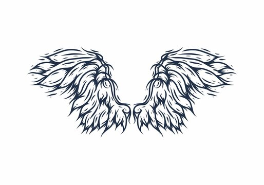 Line art drawing of blue angle wings