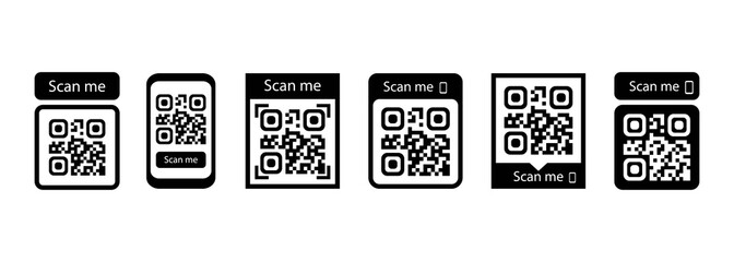 Fototapeta Scan me icon set. Qr code for payment. Vector EPS 10. Isolated on white background