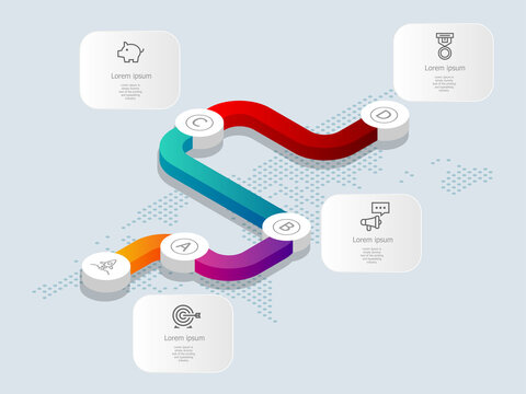 abstract isometric  timeline infographics 4 steps with world map for business and presentation