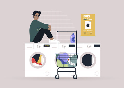Household chores concept, a young male character waiting for their laundry in a coin laundromat