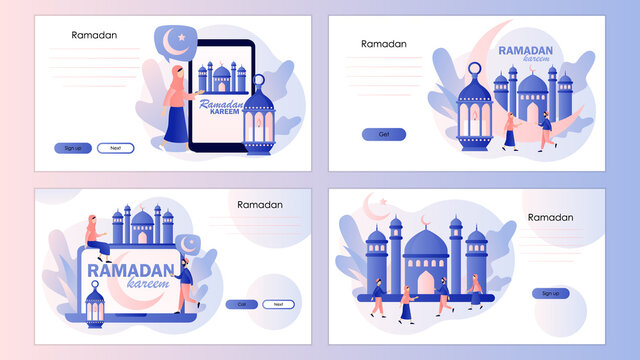 Ramadan Kareem. Eid mubarak holiday. Holy Month and lantern for pray at night. Screen template for mobile smart phone, landing page, template, ui, web, mobile app, poster, banner, flyer. Vector