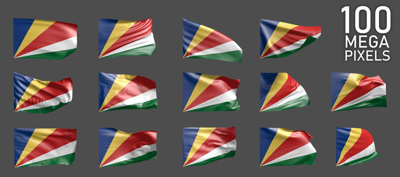 Seychelles flag isolated - different realistic renders of the waving flag on grey background - object 3D illustration