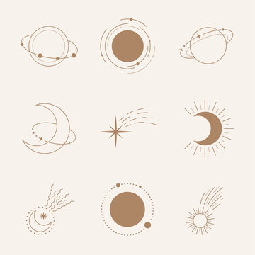 Esoteric symbols with moon and planet. Celestial sings. Vector illustration in boho style