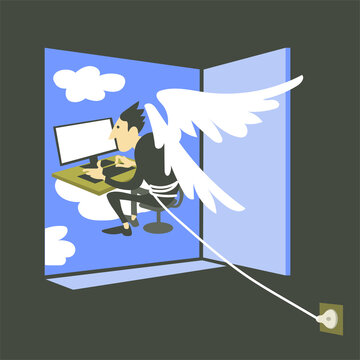 Vector illustration of philosophy. A metaphor for the online social media addict lifestyle. A man with wings behind his back sits at a computer monitor, cannot get into the outside world. The concept