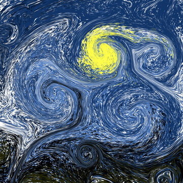 "Stylized illustration of a night sky with a moon, colorful spirals in blue, black and yellow. Background in the style of the painting by Van Gogh ""Starry Night"" Design for posters of exhibitions, art."