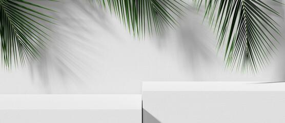 Fototapeta White stone product display podium with nature leaves. 3D rendering  obraz