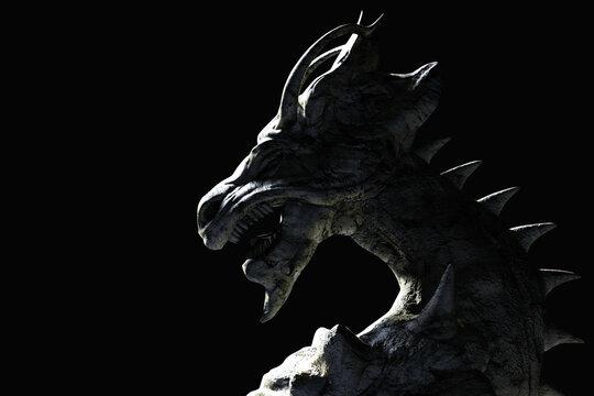 3d render illustration of ancient shaded fantasy dragon statue on dark background.