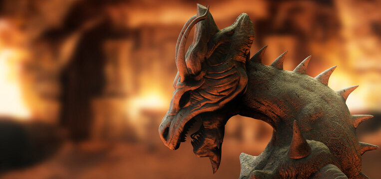 3d render illustration of stone dragon statue standing on ancient temple background.