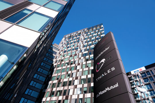 Bucharest, Romania - September 5, 2020. The Thales and Bitdefender headquarters in  Orhideea Towers building and blue sky in Bucharest, Romania.