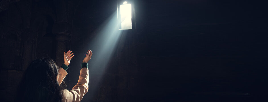 young prayer woman in church