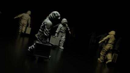 Fototapeta 3d rendered illustration of Statue of Epidemic Health Workers. High quality 3d illustration